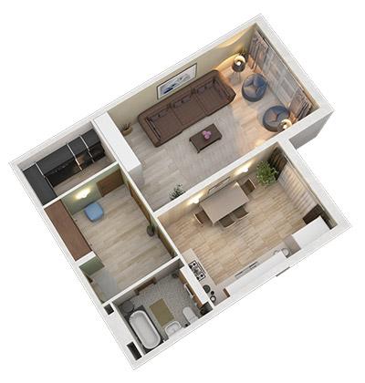 Дом с террасами 1к 64,3м2