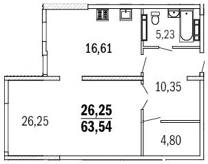 Планировка 1к 64,3 м2