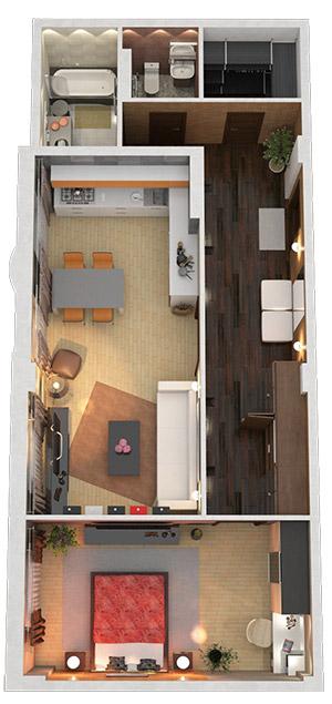 Дом с террасами Дизайн-проект для 2к 74м2