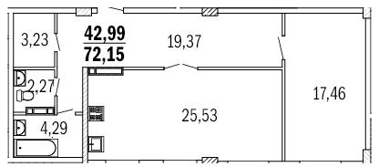 Планировка 2к 74м2