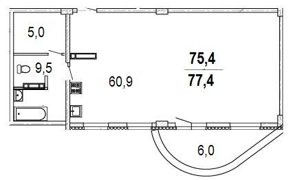Планировка 2к 77,4м2
